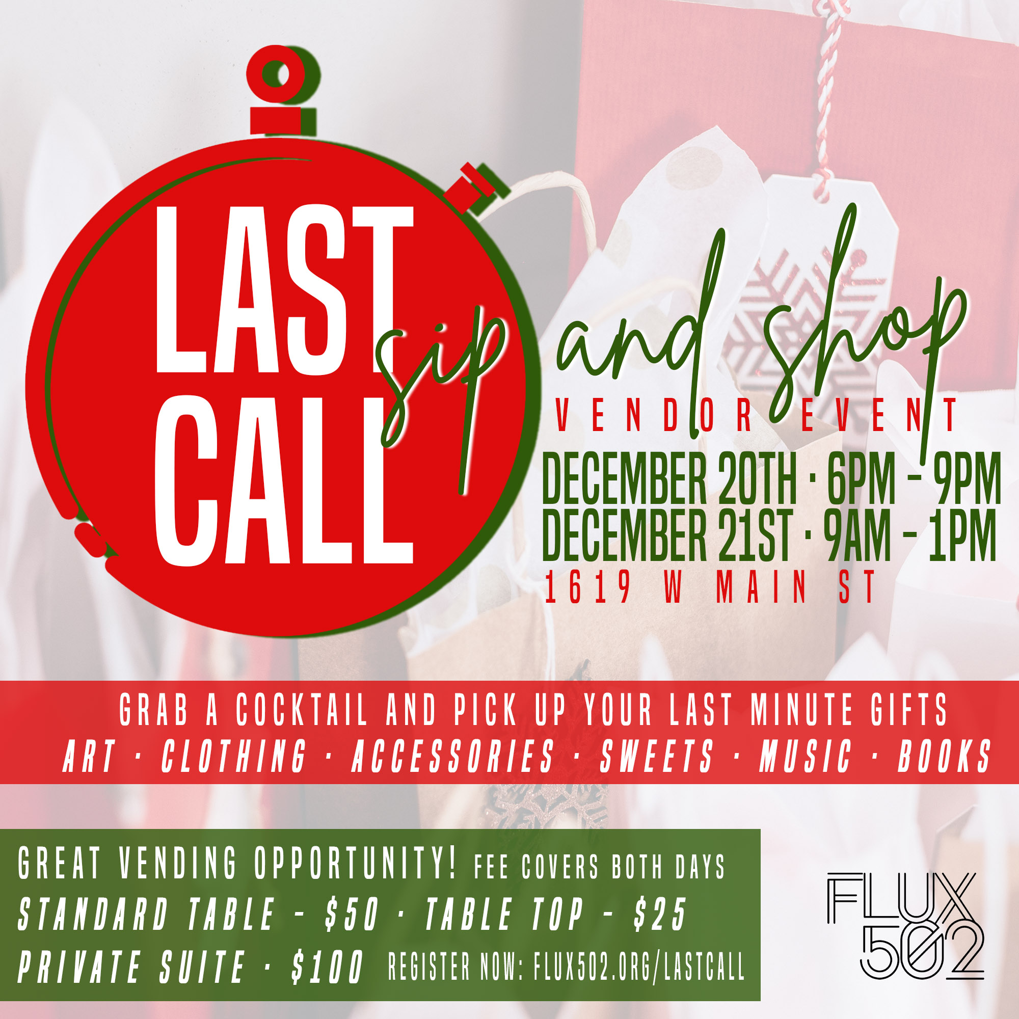 Last Call Sip and Shop - Vendor Registration
