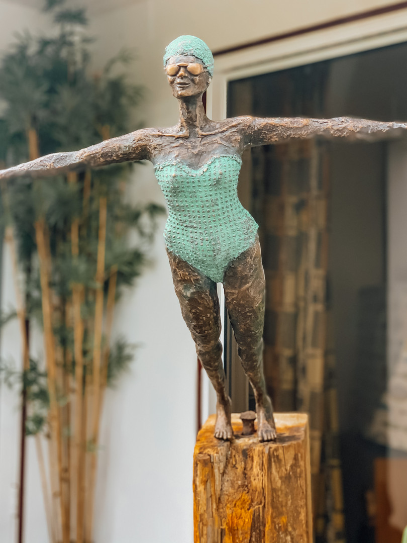 Diving girl sculpture