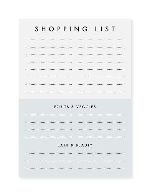 Notepad / Notizblock - Shopping List