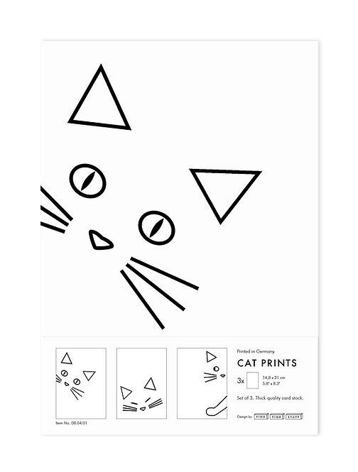 Set of 3 / 3er Set Cat Prints