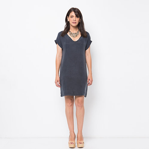 ROSLY שמלה משי אפור כהה