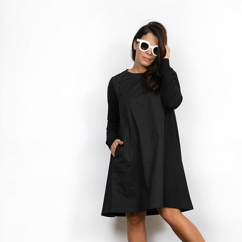 MADLENY שמלה שחורה שני בדים