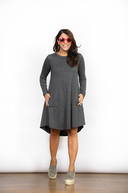BELA  שמלת סריג מיני אפורה