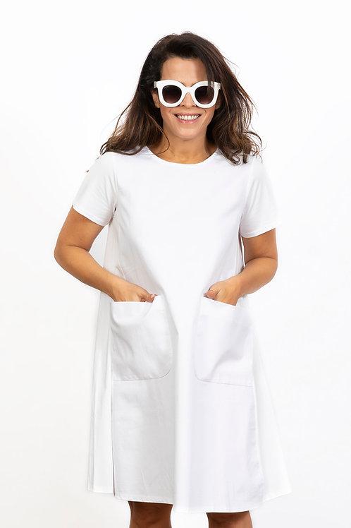 BLOSSOM שמלה לבנה עם כיסים