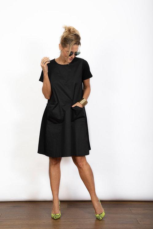 BLOSSOM שמלה שחורה עם כיסים