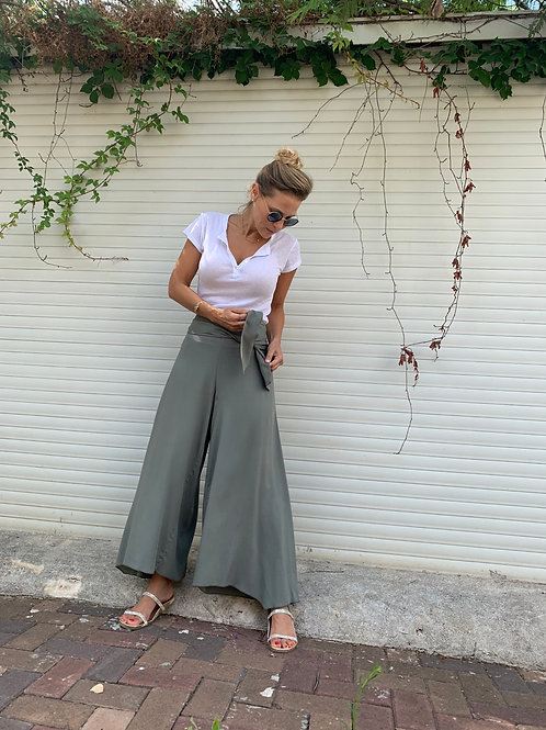 SLIM PANS מכנסיים צבע ירקרק