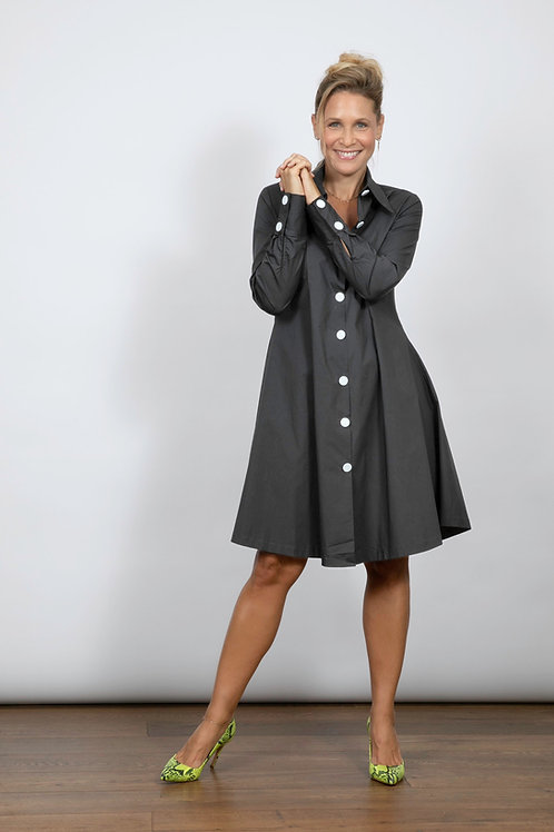 SABIA שמלת מיני אפורה כפתורים