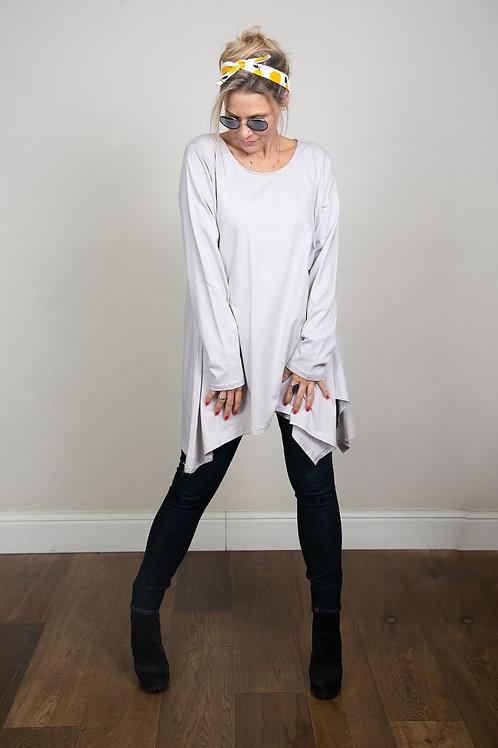 ELIZABET חולצת  אוברסייז אפורה