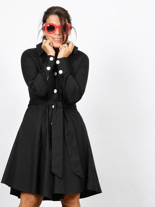 SABIA שמלת מיני שחורה כפתורים