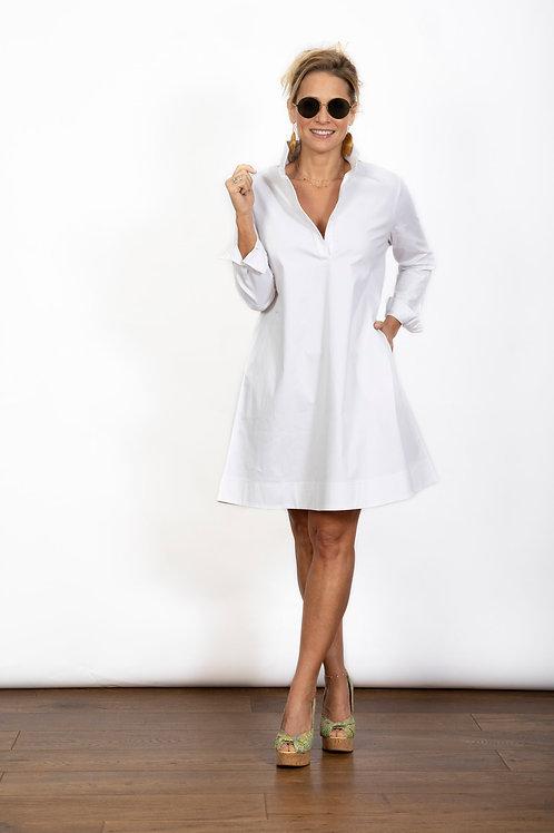 DVIRA שמלה לבנה כפתורים