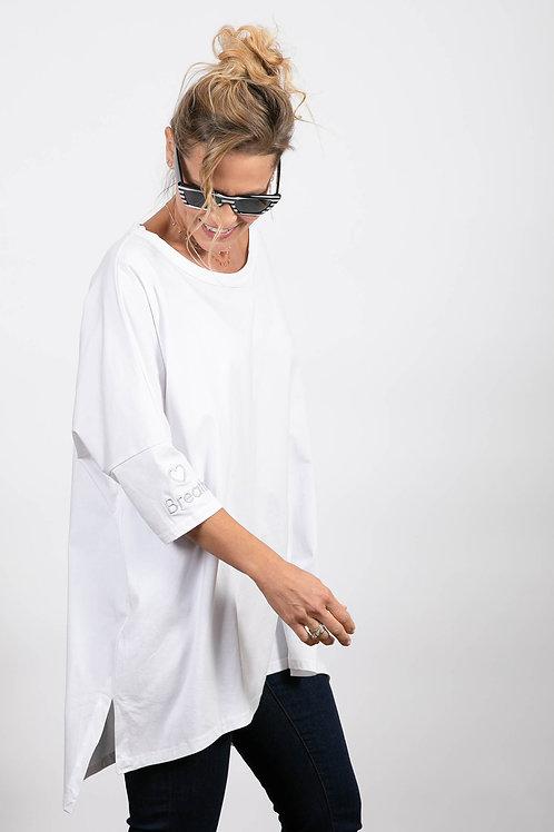 חולצה לבנה אוברסייז SARA / משקף פסים