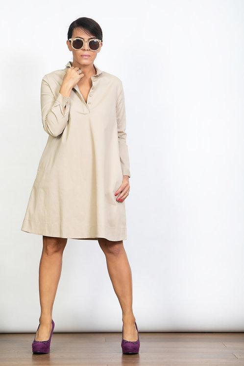 DVIRA שמלה קאמל כפתורים