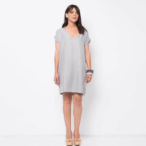 ROSLY שמלה משי אפור בהיר