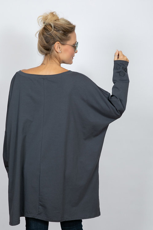 SAVOY  חולצת אוברסייז אפורה