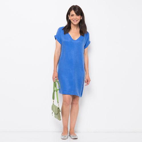 ROSLY שמלה משי כחול רויאל