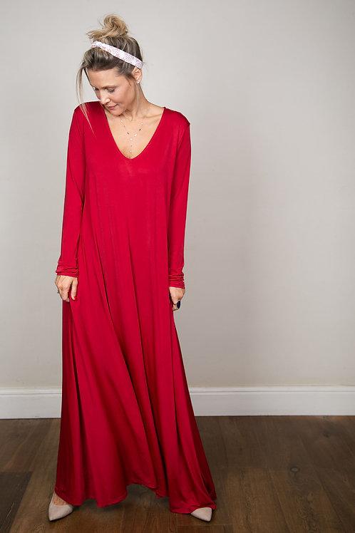 ODEM שמלה מקסי אדומה