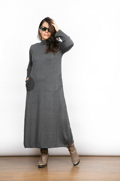 BLIND  שמלת סריג אפורה