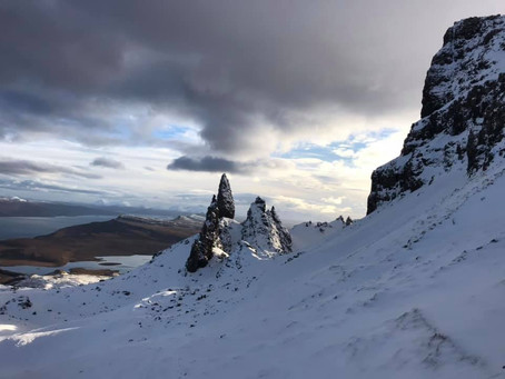 A snowy Old Man of Storr