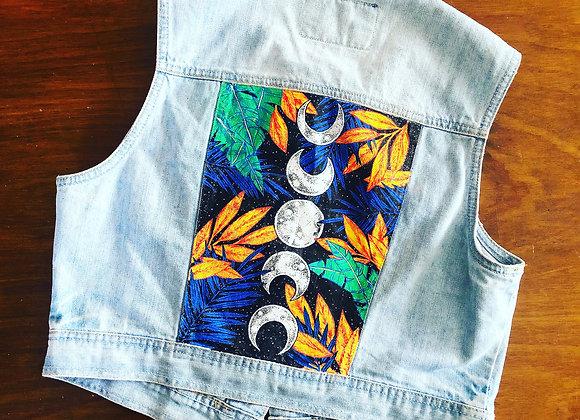 Cactus. Handpainted denim vest