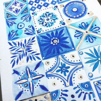Talavera tiles - Watercolor on paper