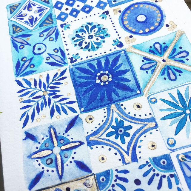 Talavera tiles - Watercolor on paper