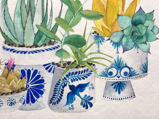 Talavera pots - Watercolor on paper
