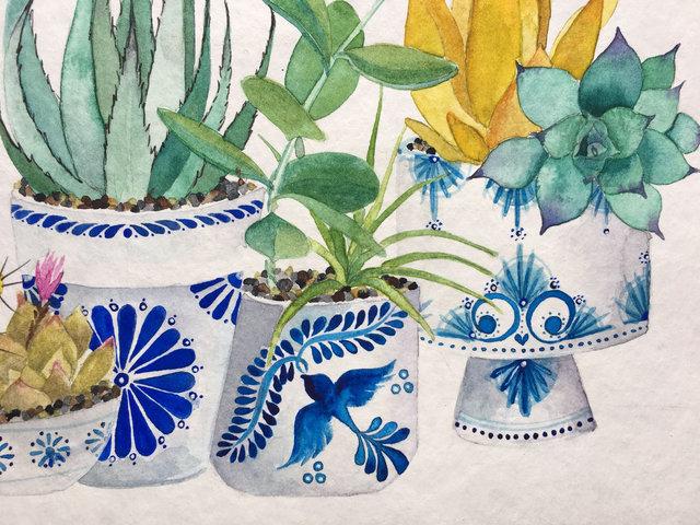 Talavera pots - Watercolor on paper