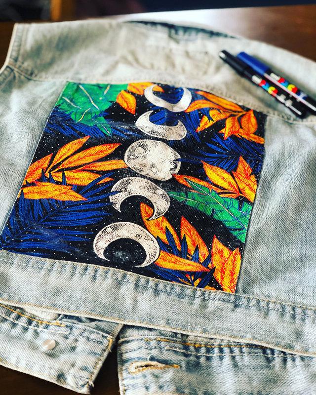 Client comission - Denim vest Fabric painting