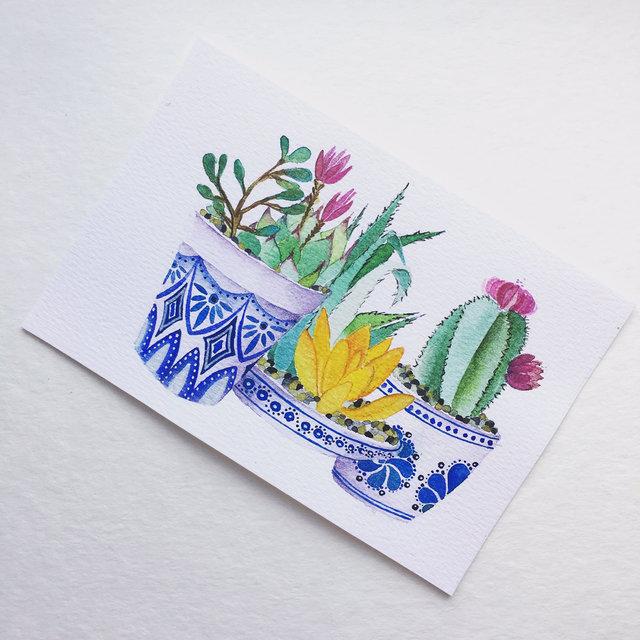 Tlavera pots - Watercolor on paper