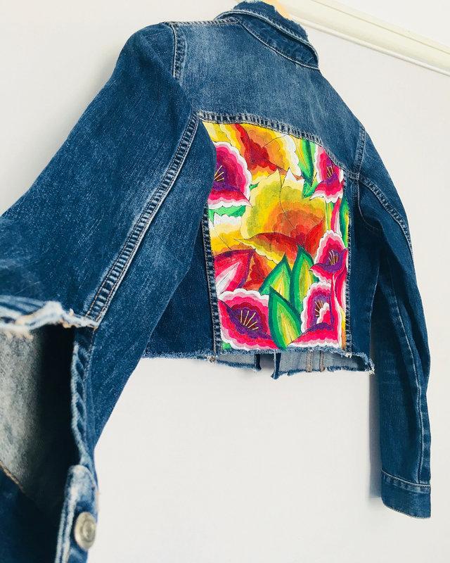 ·Zara· Denim jacket Handpainted