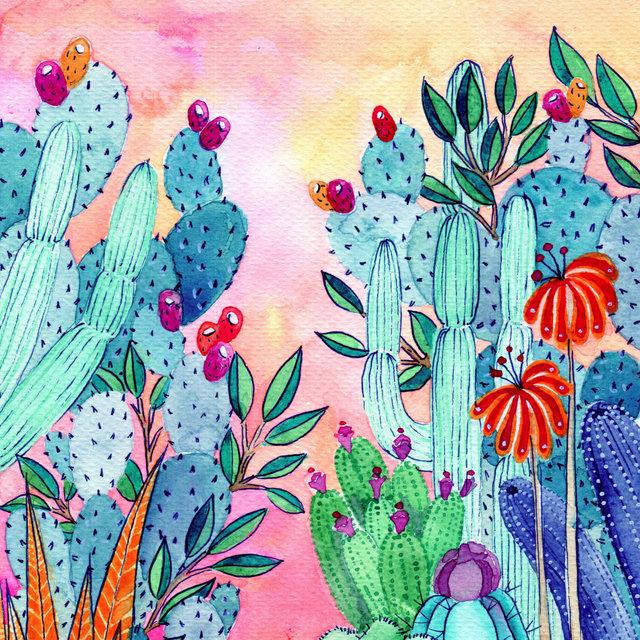 """""""Atardecer en el desierto"""" Watercolor on paper"""