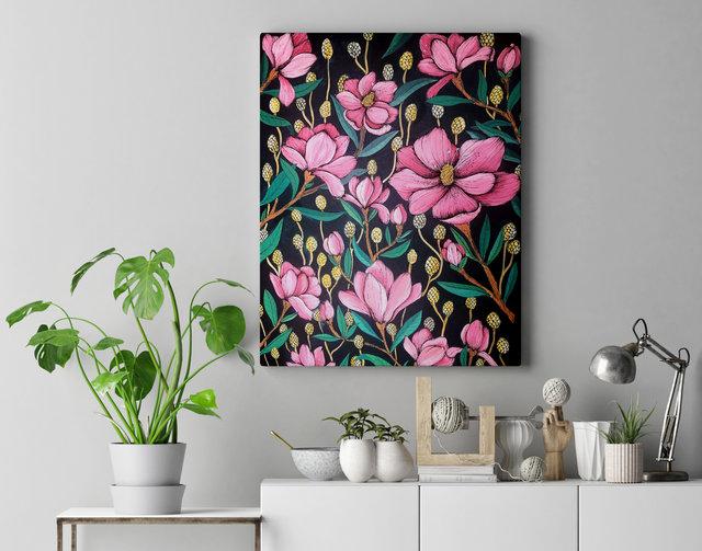 """""""Magnolias"""" Acrilyc on canvas"""