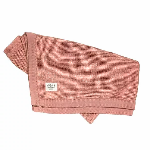 Organic Cotton Pink Knitted Blanket