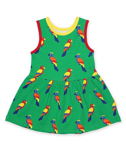 Organic Parrot Print Summer Dress