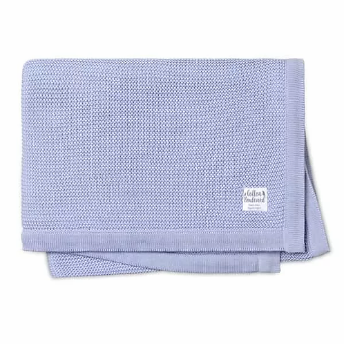 Organic Cotton Misty Blue Knitted Blanket