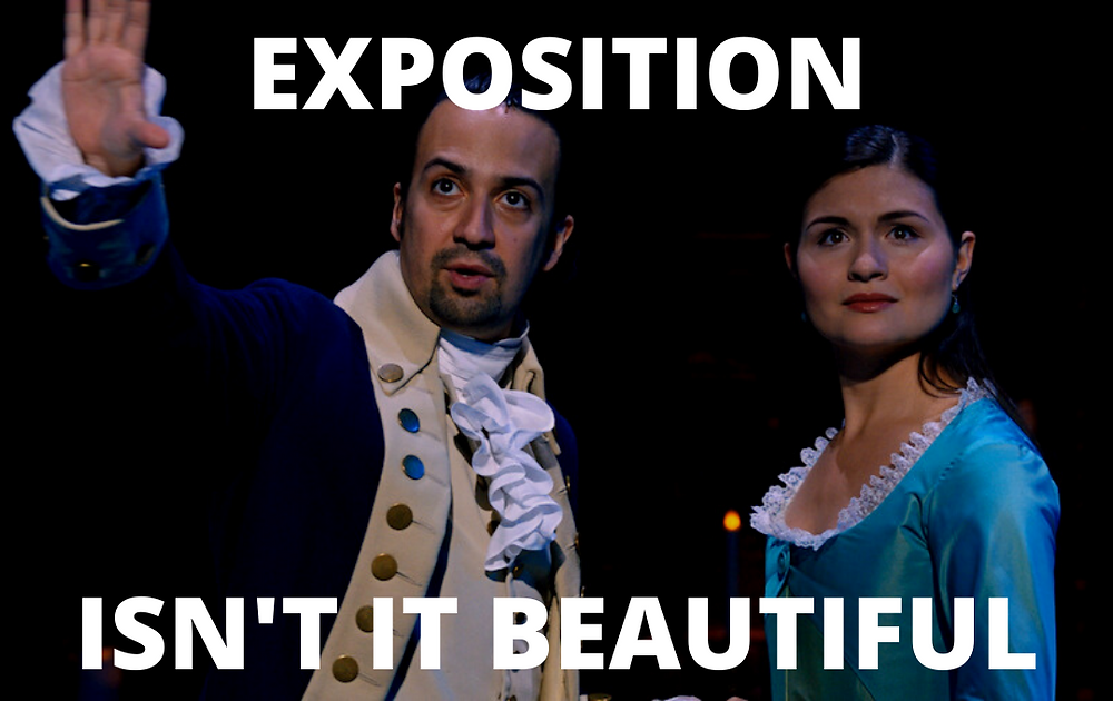 "Meme made by R. M. Waenga using Disney footage. Meme of Alexander and Eliza Hamilton that says ""Exposition. Isn't it Beautiful."