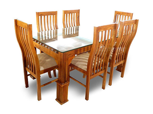 Dining Table Set - Glass Top - 6 Seater