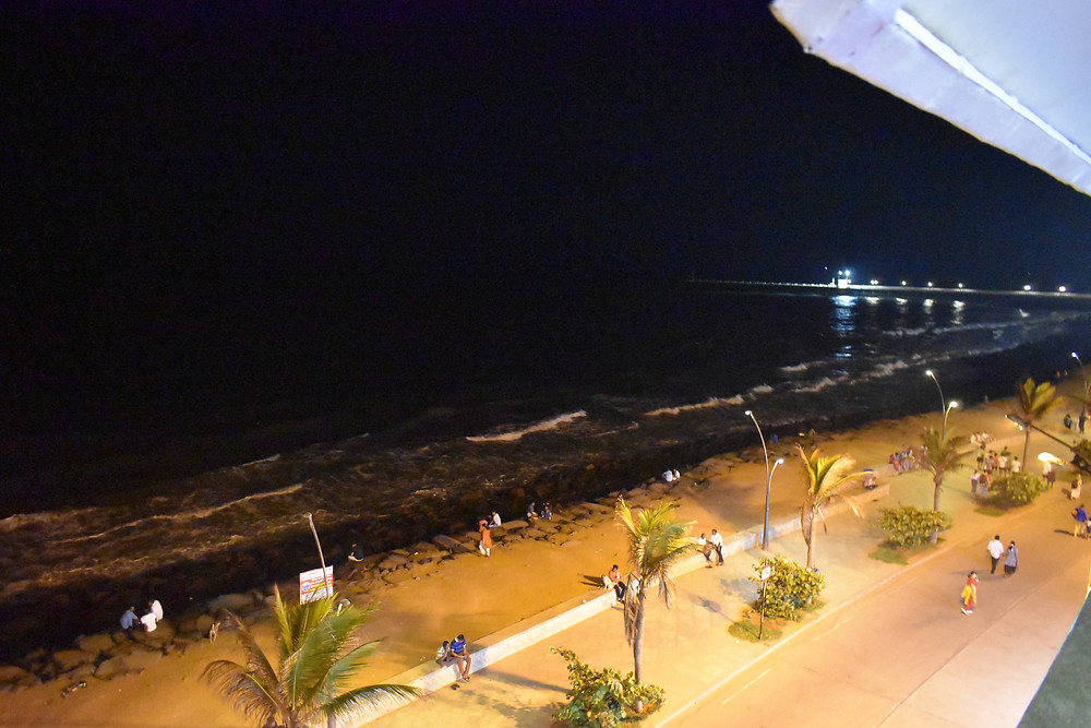 View from the top of a bar and restaurant at pondicherry