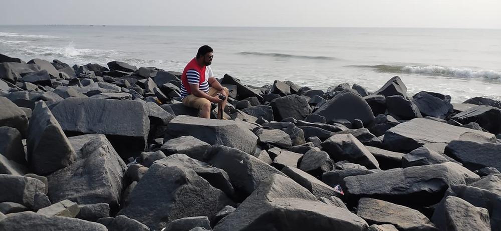Bijoy Babu at the rock beach in pondicherry, visit www.theendlessroads.com