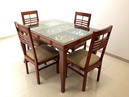 Dining Table with Glass Top - 4 Chairs