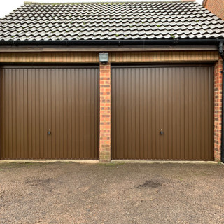 Hormann up and over garage doors in brown