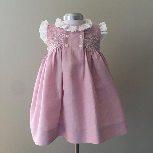 Vestido nidos lino rosa