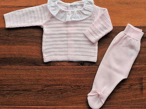 Conjunto de Punto Bebé Rosa
