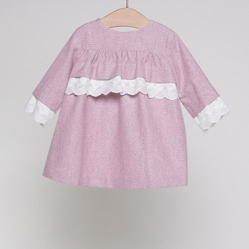 Vestido Bebé Oxford Rosa