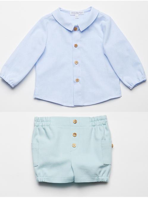 Camisa Oxford y Bermuda Aqua