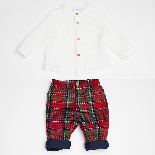 Camisa Muselina y Pantalon Cuadros Escoceses