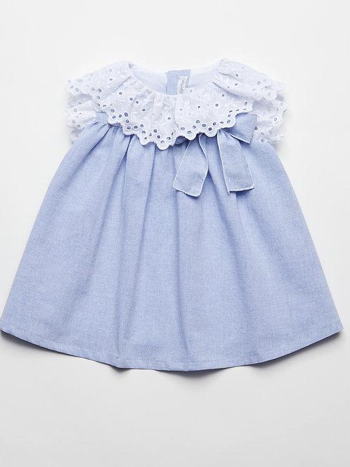 Vestido Azul Oxford con Cubrepañal
