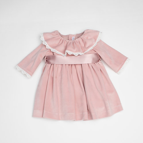 Vestido Terciopelo Rosa Empolvado