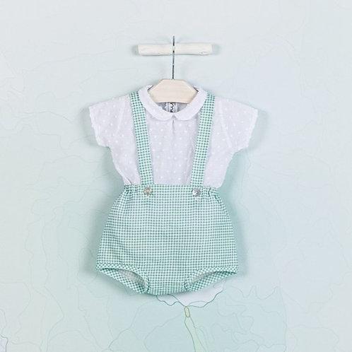 Conjunto de Chaqueta, peto y blusa plumetti