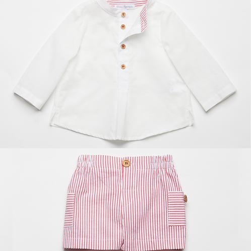 Bermuda mil Rayas con Camisa de Lino Blanco